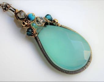 The Seashore Watery Blue Gemstone Wire Wrap Necklace