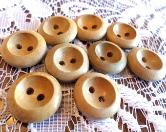9 Wood VINTAGE 2 Hole Buttons 3/4 Inch Wood Sew Thru Buttons