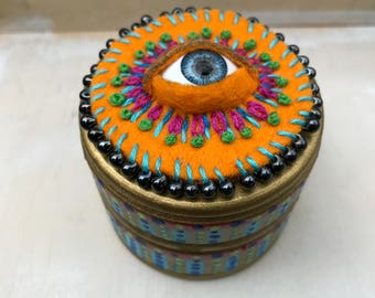 Hand Painted wood box with embroidery and doll eye