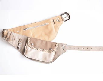 Leather waist bag, leather belt bag belt, Horseback rider belt, Leather Pocket Belt, Leather Fanny Pack, designer fanny pack