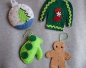Embroidered Felt Christmas Ornaments OOAK Hand Stitched Ugly Christmas Sweater Stocking Trees Gingerbread Man Mitten Tacky Retro Decorations