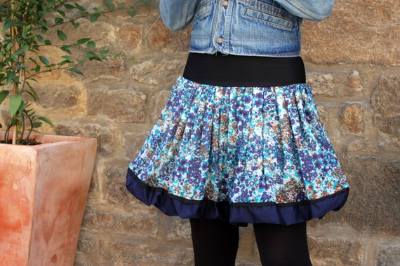 Ball with flowers blue-Turquoise-Orange skirt, cotton voile. Balloon skirt woman blue skirt
