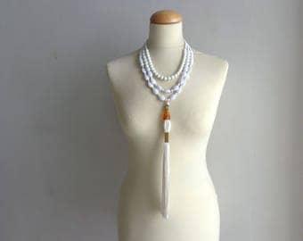 Statement white tassel necklace, white statement, white tassel