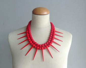 Red Spikes necklace, Tribal statement necklace, colorful necklace,  red necklace, multi strand necklace