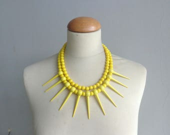 Yellow necklace, Spikes necklace, Tribal statement necklace, colorful necklace,  multi strand necklace