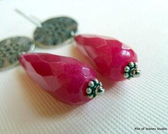 Fuchsia Summer* Earrings Long Faceted Teardrop Earrings Upcycled Medallion Jewelry Rose Pink & Silver Earrings Handmade Feminine Earrings