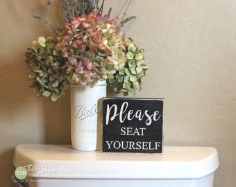 Please Seat Yourself Mini Block Wood Sign - Bathroom Decor - Wood Sign - Wooden Signs - Funny Sayings - Quotes - Small MiniBlock M026