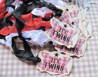 It's Twins BBQ Baby Shower Favor Tags with ribbons - Ready to Ship - Set of 12- Baby Q Barbecue gender reveal