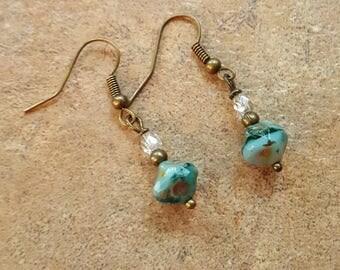 Teal glass earrings Handmade
