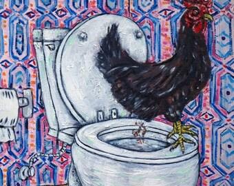 20 % off storewide chicken rooster bird art PRINT animals gift new impressionism  modern bathroom