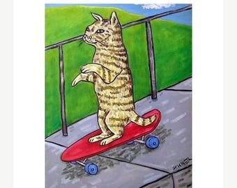 20% off Cat Riding a Skateboard Down the Sidewalk Art Print  Pop art MODERN folk art