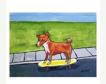 20% off Basenji,basenji art,basenji print, 11x14 print,moderndog art, modern dog print, gift for skateboarder, skateboarding dog dog art