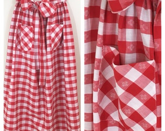 70s New Issues Red White Picnic Plaid Bow Maxi Skirt with Back Buttons, Size Small