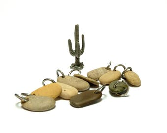 Drilled Beach Stones EL PASO Bead Set Focal Jewelry Small Charms Pendants Dangles Layers Natural Earthy Jewelry diy Earring Pairs