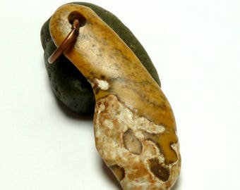 Beach Stone Bead UNIQUELY YOU Artistic Style Beach Pebble Top Drilled Natural Lake Rock Talisman Pendant Charm Earthy Tribal Jewelry