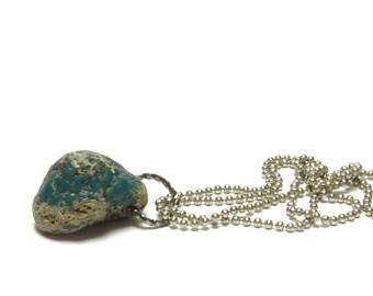 Drilled Beach Glass AQUA EARTH Pendant Stone Slag Glass Drilled Stones Leland Bluestone Dangle Charm Blue Love Lelandite diy