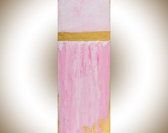 Pink gold white wall art Original abstract art wall decor painting on canvas nursery art nursery wall art pink canvas by qiqigallery