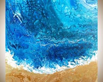 Abstract painting Original artwork large wall art colourful abstract painting on canvas blue white gold by qiqigallery