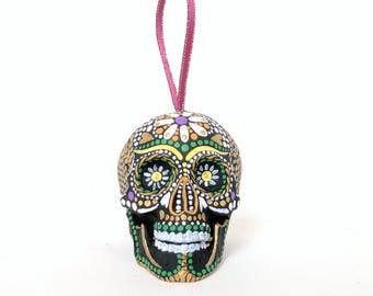 Skull ornament hand painted shatterproof Ornament sugar skull day of the dead