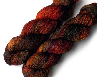 Hand Dyed Yarn Lace Yarn Superwash Merino - Red Maple, 960 yards