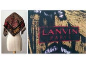 Vintage 60s Lanvin Abstract Wool Challis Scarf