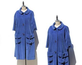 Vintage Padding-ton Blue Corduroy Swing Coat