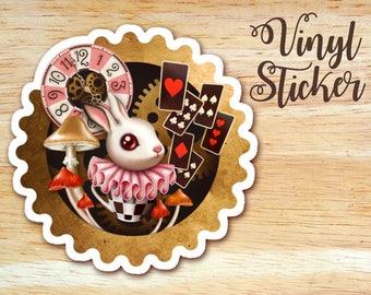 Bunny Time Die Cut Vinyl Sticker Decal, Alice in Wonderland, White Rabbit Steampunk