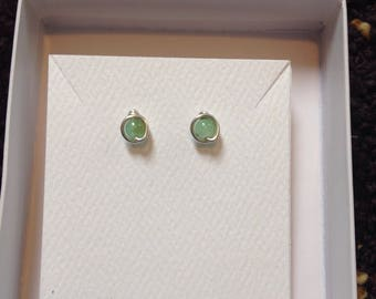 Green Chrysoprase Stud Earrings, Argentium Sterling Silver Wire posts, rubber backs