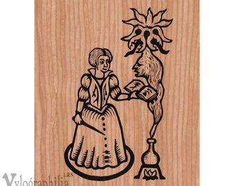 Summoning Magician screenprint on genuine wood veneer 5 x 7