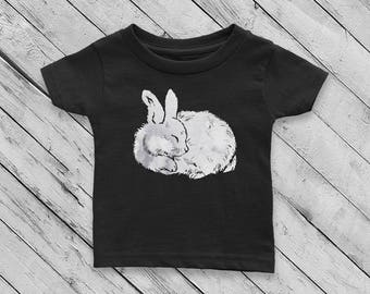 Sleeping Bunny Rabbit #2 Watercolor Baby Girl or Boy 100% Cotton Jersey T-shirt