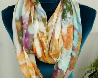 Lightweight Ice Dyed Woven Rayon Infinity Scarf in Harvest Gold Sage Green and Iris Purple