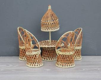 Vintage Miniature Wicker Peacock Chairs & Umbrella Table