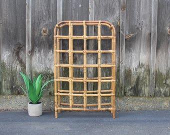 Vintage Rattan Bamboo Wine Rack. 24 Bottles