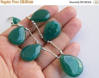 Deep Discount Sale Green Chalcedony Gemstone Briolette Smooth TearDrop Pear 18.5 and 21mm 4 beads
