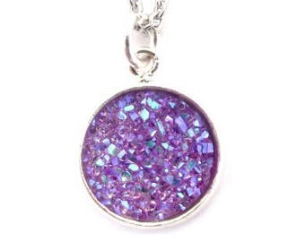 """Violet Druzy Necklace 18"""" Stainless Steel Chain"""