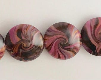 Polymer Clay Lentil Beads Set #L-6