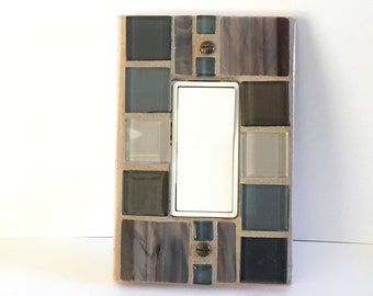Mosaic Light Switch Cover, Gray Glass Switch Plate, Outlet Cover, Decorative Switchplate, Electrical GFI GFCI, Decora, Stained Glass, 8392