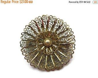 OnSale Silver Filigree Flower Brooch - Vintage, Gold Washed