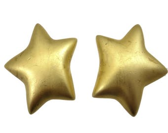 Gold Star Earrings - Large Chunky Designer Costume Jewelry Clips Carlisle