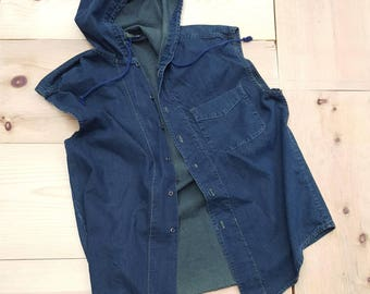 Vintage  Denim Shirt  //  Vtg 90s Made in the USA Distressed Forest Green Overdye Hooded Sleeveless Denim Shirt