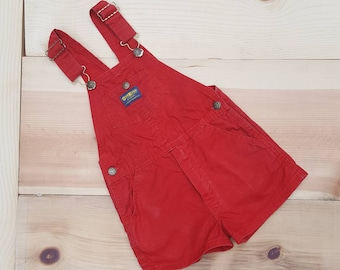 Vintage Kids Overalls  // Vtg OSH KOSH Made in the USA Red Twill Bib Children's Shortalls Romper