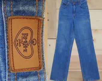 "Vintage Jeans  //  Vtg 70s 80s Prime Time Distressed High Waist Straight Leg Jeans //  28"" waist"