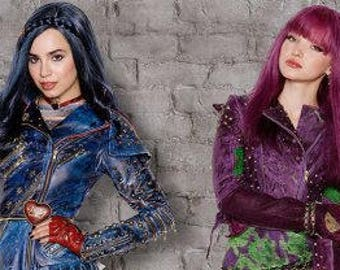 Custom Made Disney Descendants Both Evie and Mal costumes ADULT FAUX LEATHER version