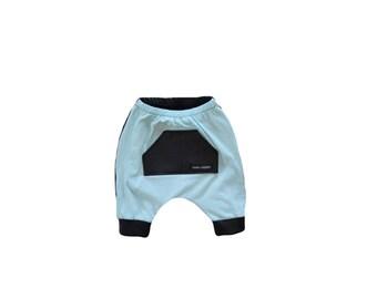 Blue Pocket harem shorts with black faux leather details - toddler harem shorts - kids harem shorts