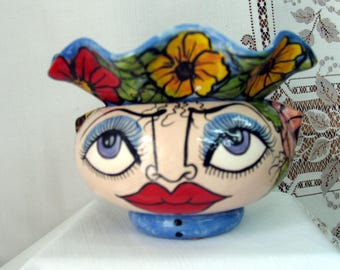 Whimsical Impressionistic Style Face and Assorted Flowers Ceramic African Violet Pot/ Pottery Planter, Two Piece, Self Watering on Etsy