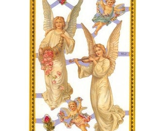 England Paper Scraps Lithograph Die Cut Christmas Angels  A-59