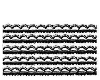 Germany Black Scalloped Petite Dresden Paper Trim Edging  DFW218B