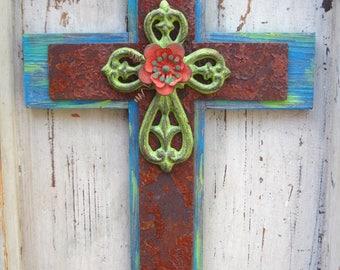 Industrial Cross.Distressed Cross.Rusty Metal.Chippy Rust.Layered Cross.Wood Cross.Wooden Cross.Wall Cross Decor.Cross Wall Decor.Turquoise