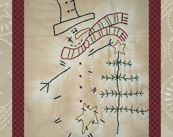 Charlie the Snowman by Primitive Stitches--E-PATTERN-Primitive Stitchery--Instant Download