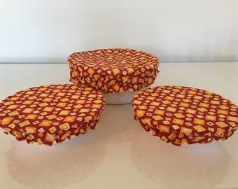Reusable Food Bowl Container Elastic Picnic Cover Square Geometric Cotton Fabric (3 Piece)